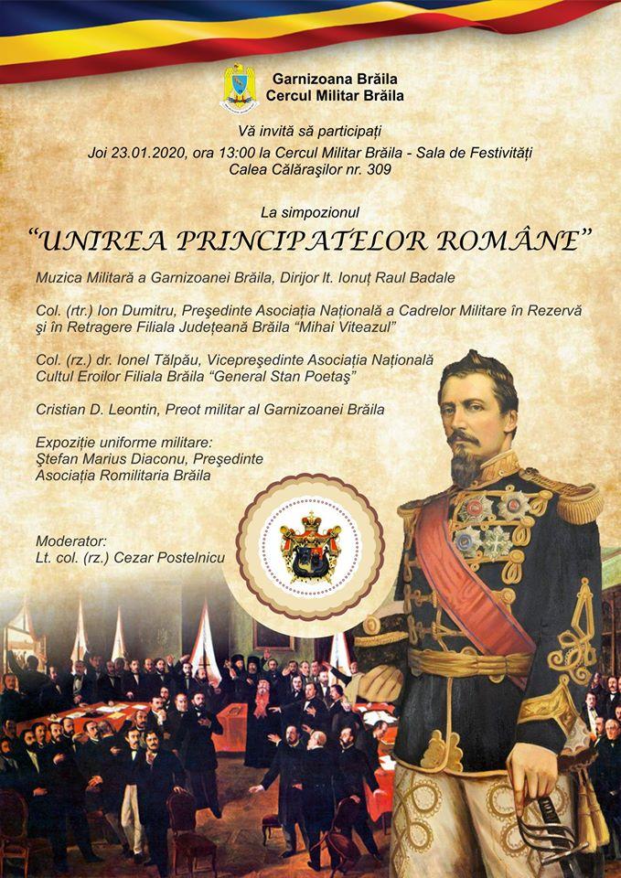 Unirea Principatelor Române, simpozion la Cercul Militar Brăila