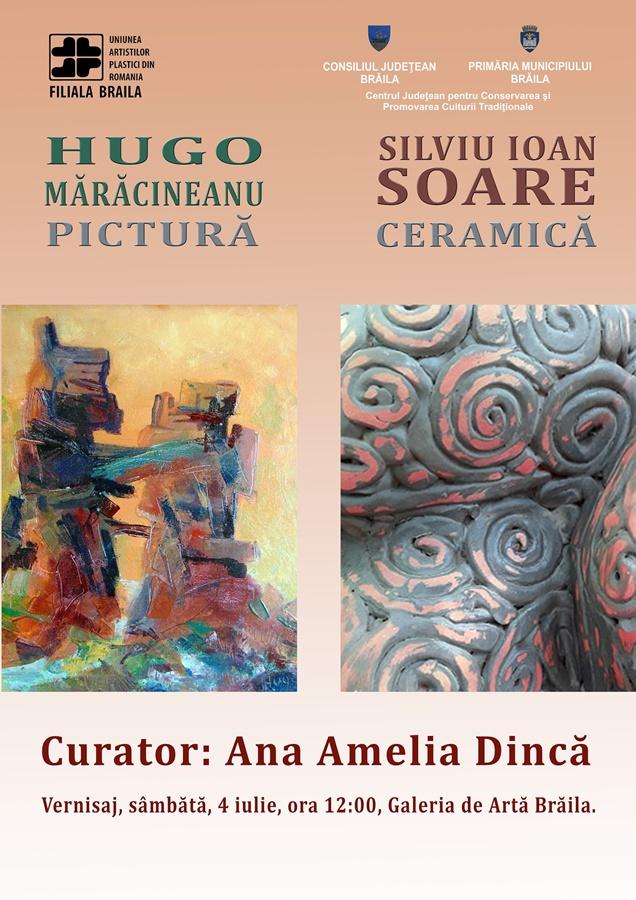 Afis - Expozitie, Hugo Maracineanu - pictura si Silviu Ioan Soare – ceramica