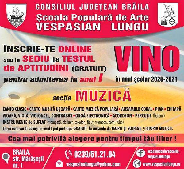 Afis - Scoala Populara de Arte Vespasian Lungu, inscrieri sectia muzica
